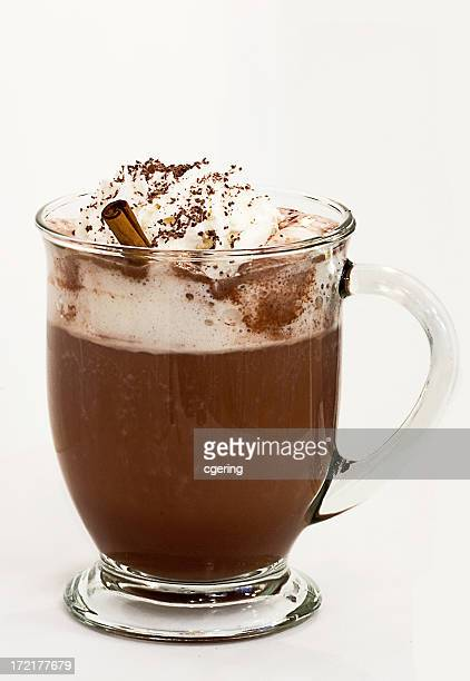Hot beverage with whipped cream and sprinkled chocolate