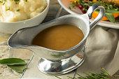 Hot Brown Organic Turkey Gravy in a Boat