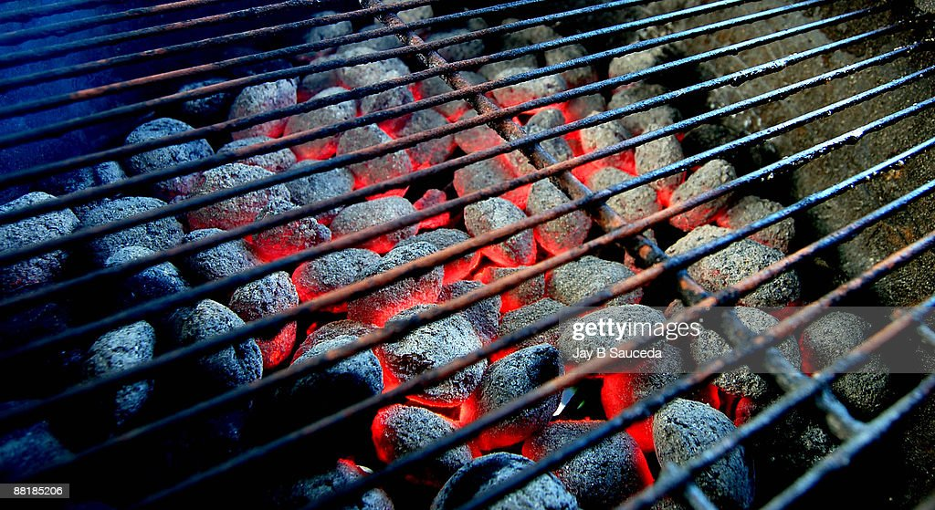 Hot burning charcoal : Stock Photo