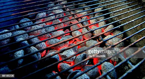 Hot burning charcoal