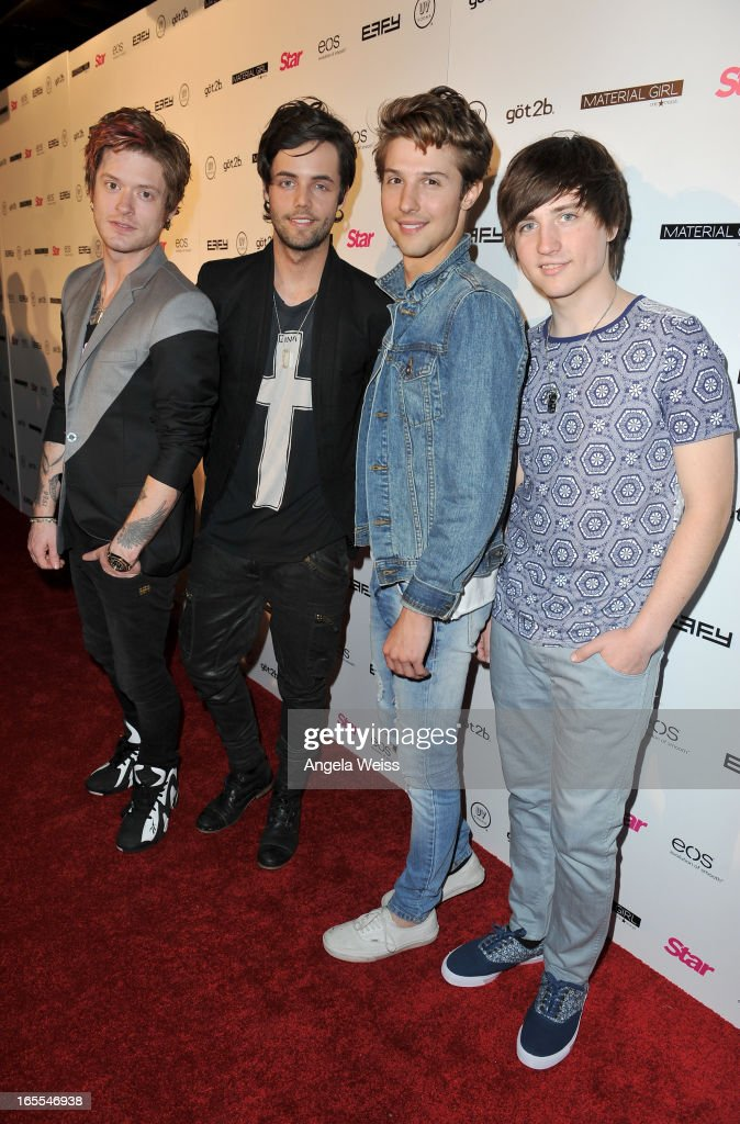 Hot Chelle Rae (L-R) <a gi-track='captionPersonalityLinkClicked' href=/galleries/search?phrase=Nash+Overstreet&family=editorial&specificpeople=5926678 ng-click='$event.stopPropagation()'>Nash Overstreet</a>, Ian Keaggy, Ryan Folles and Jamie Folles attend Star Magazine's Hollywood Rocks event held at Playhouse Hollywood on April 4, 2013 in Los Angeles, California.