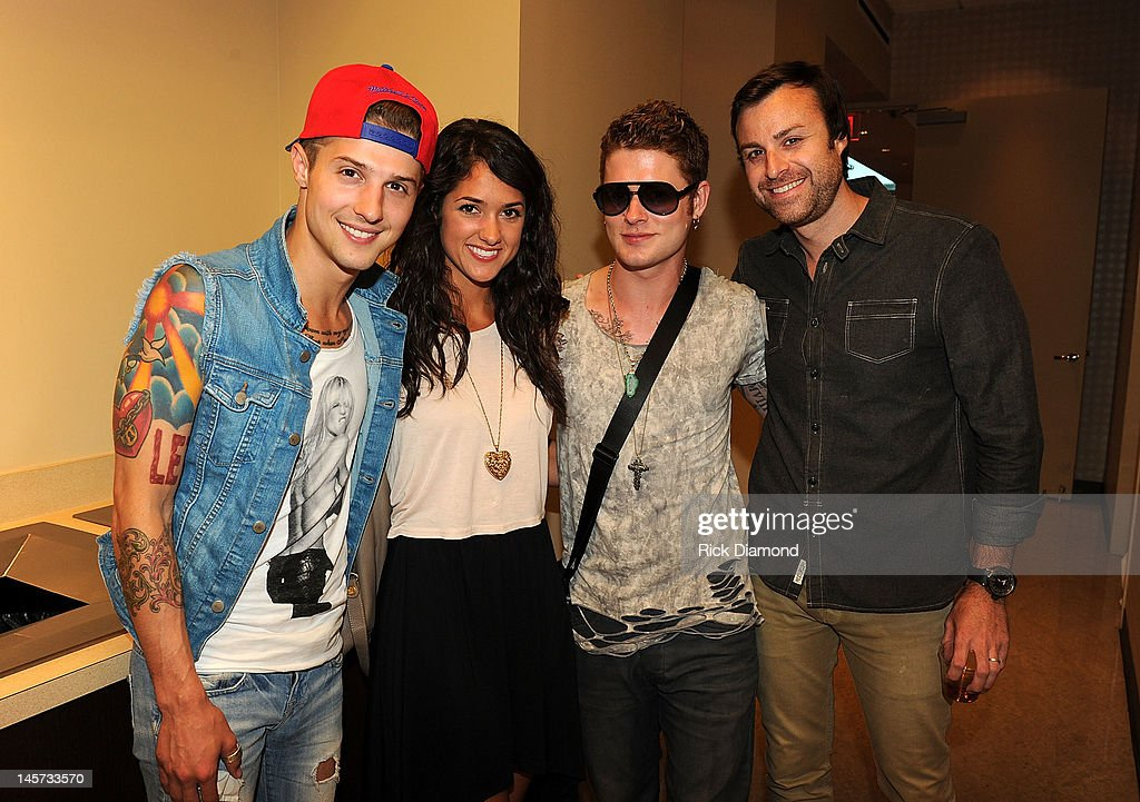 Hot Chelle Rae's Ryan Follesse, Morgan Crosson, Hot Chelle Rae's <a gi-track='captionPersonalityLinkClicked' href=/galleries/search?phrase=Nash+Overstreet&family=editorial&specificpeople=5926678 ng-click='$event.stopPropagation()'>Nash Overstreet</a>, and CAA's Matthew Morgan celebrate the new CAA Nashville offices at the 20th Annual CAA BBQ on June 4, 2012 in Nashville, Tennessee.
