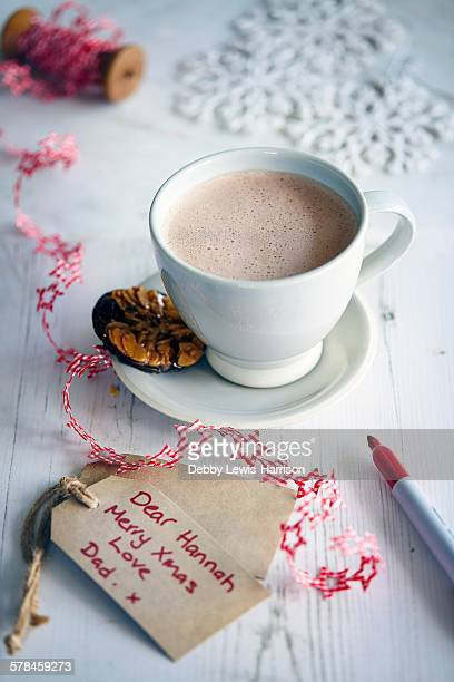 Hot chocolate, cookie and gift tag