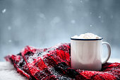 hot chocolate and a blanket in the snow