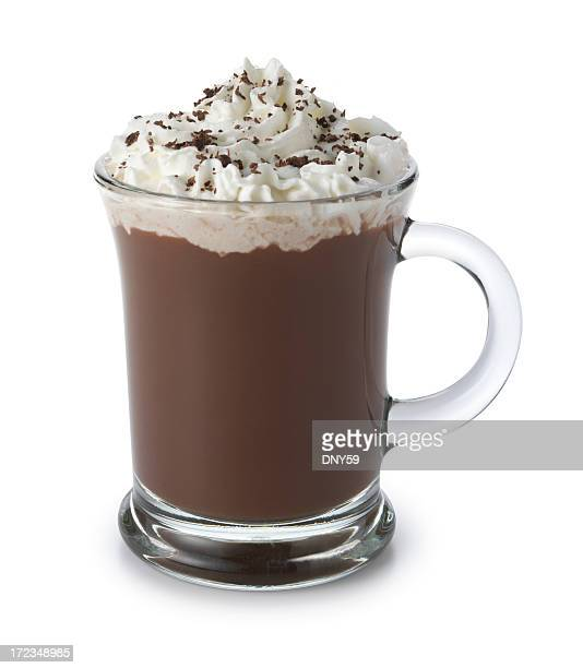 Hot chocolate topped with whipped cream isolated on white background