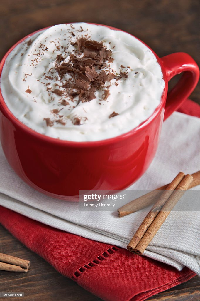 Hot chocolate with cream and cinnamon : Photo