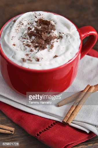 Hot chocolate with cream and cinnamon : Stock Photo