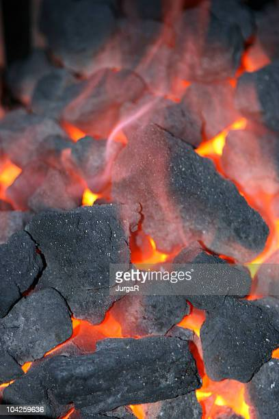 Hot coals burning in a fire pit