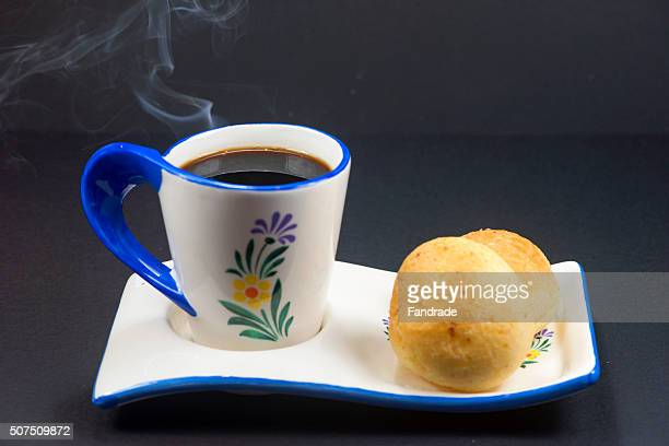 Hot coffee cups and cheese cookie