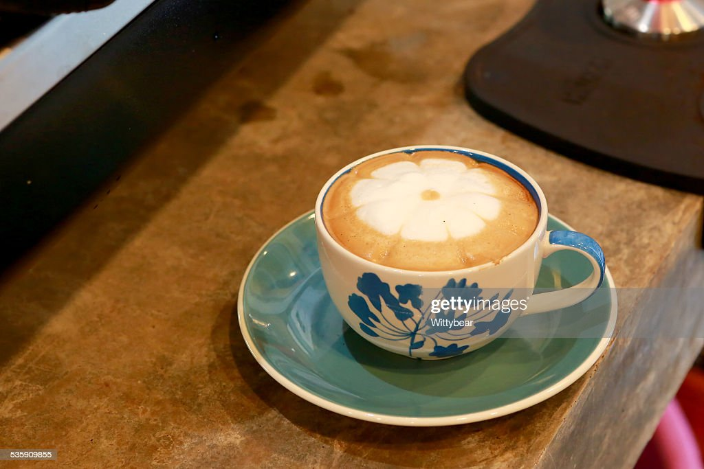 Hot coffee in cafe shop : Stock Photo
