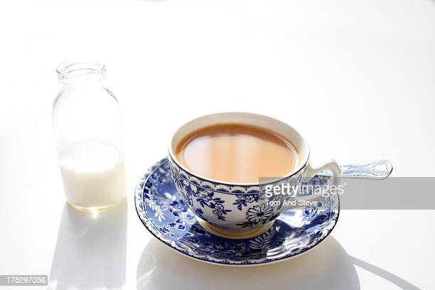 A hot cup of breakfast tea on a white table