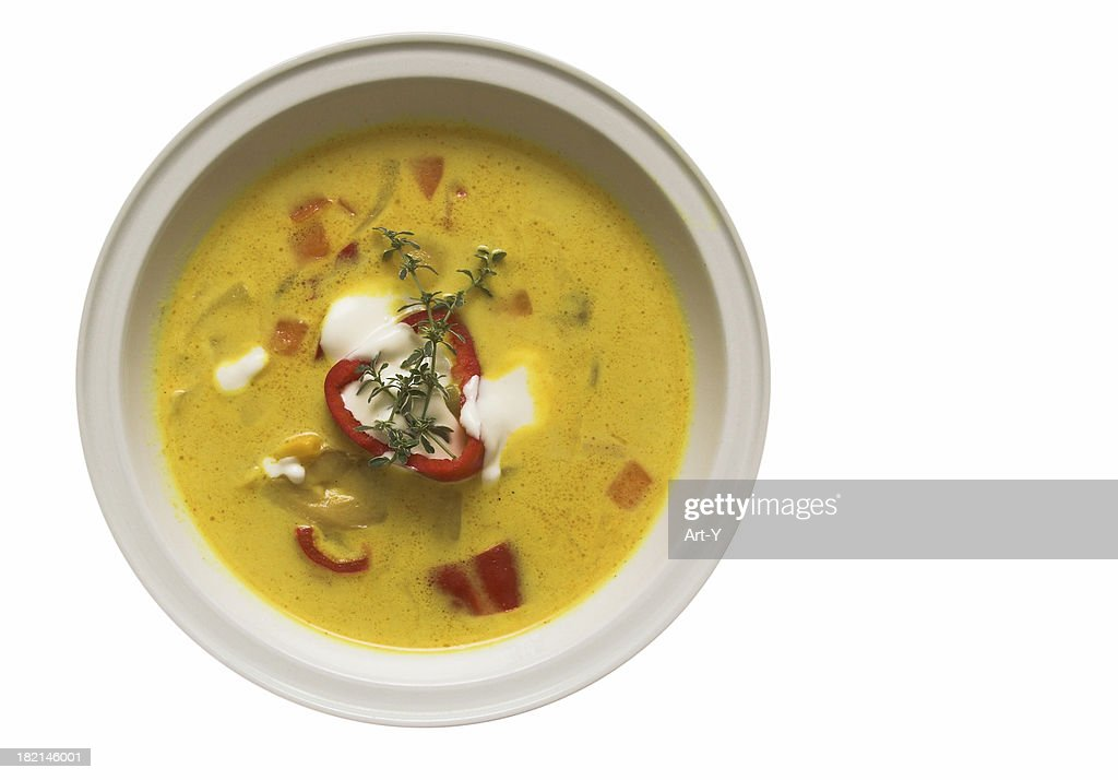 Hot curry soup - isolated