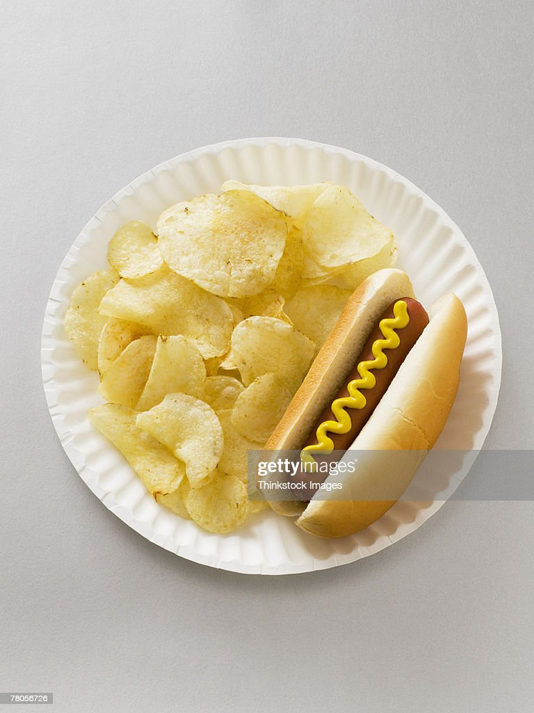 Hot dog and chips on a paper plate