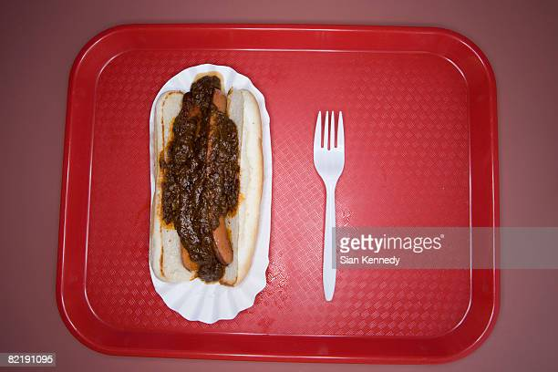 Hot dog on a fast food tray