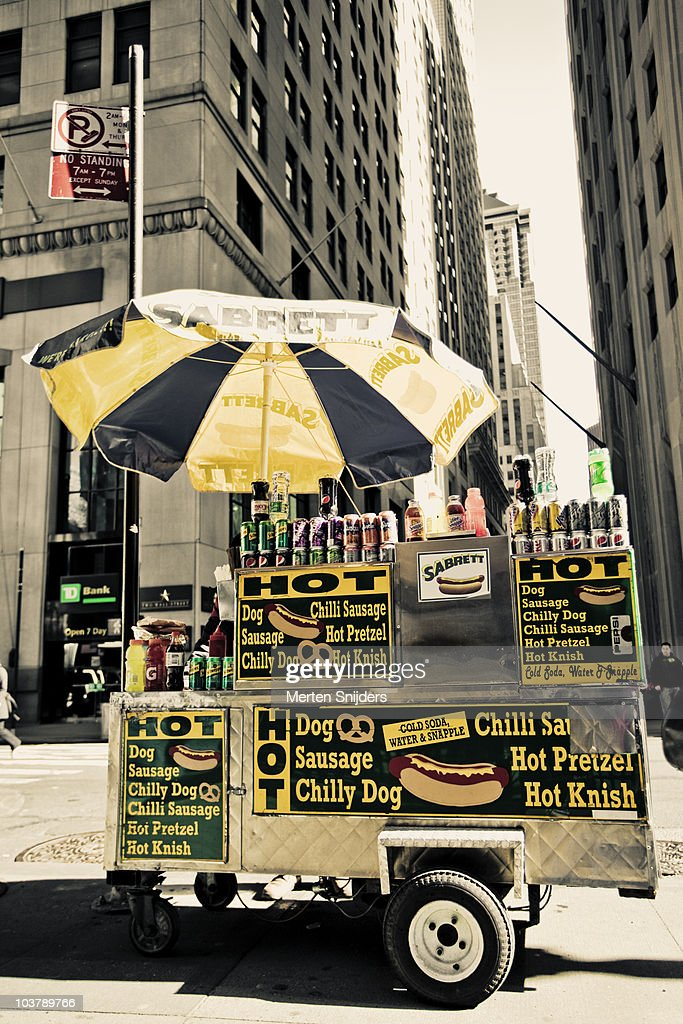 Hot dog stand at downtown Broadway. : Stock Photo