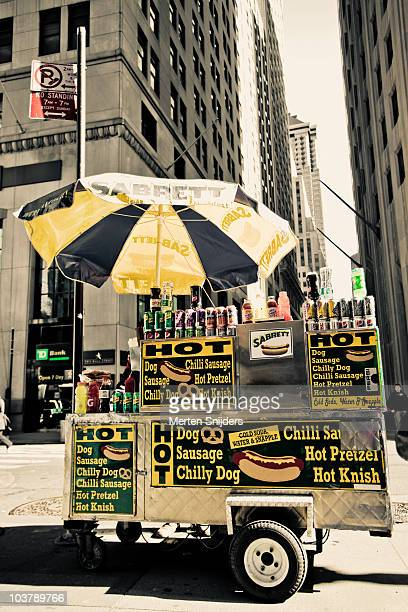 Hot dog stand at downtown Broadway.