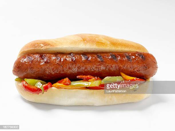 Hot Dog with Grilled Peppers