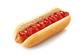 Hot dog with ketchup isolated on white background