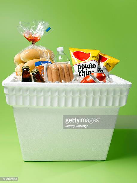 hot dogs and food in cooler