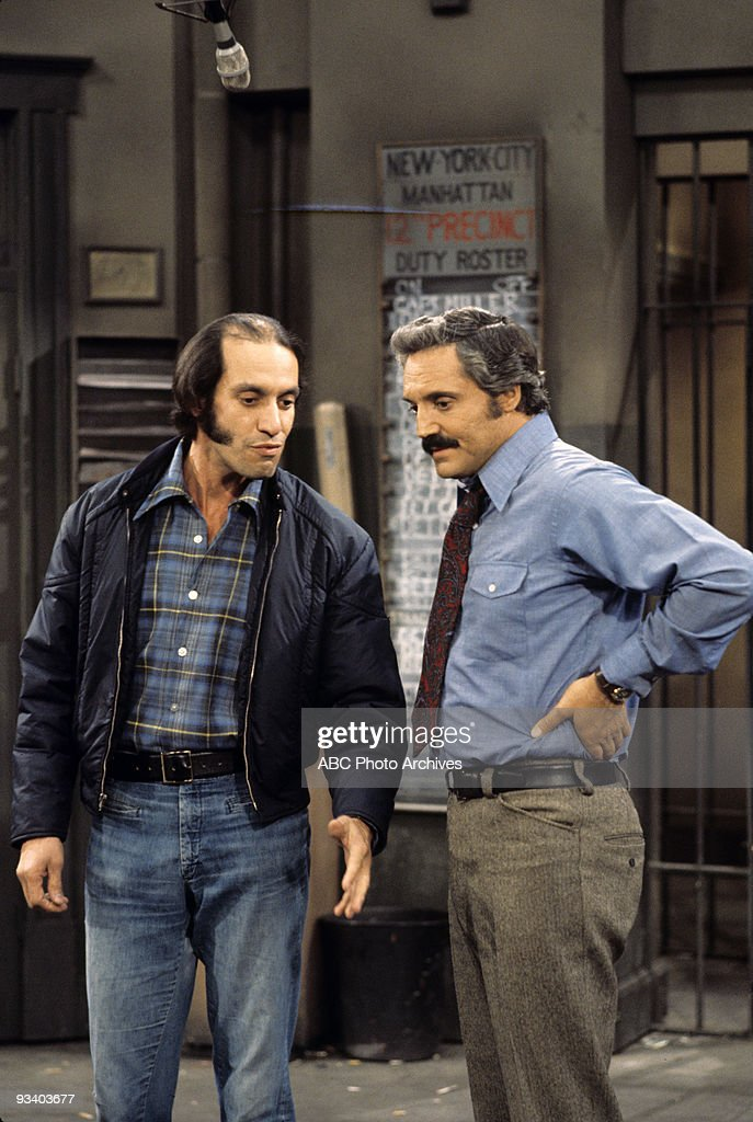 MILLER - 'Hot Dogs' - Season Two - , A man is convinced that photo of Jean Harlow is his missing wife and a pair of lady cops makes an overzealous drug bust., Gregory Sierra (as Det. Amenguale) and Hal Linden (as Capt. Miller).,