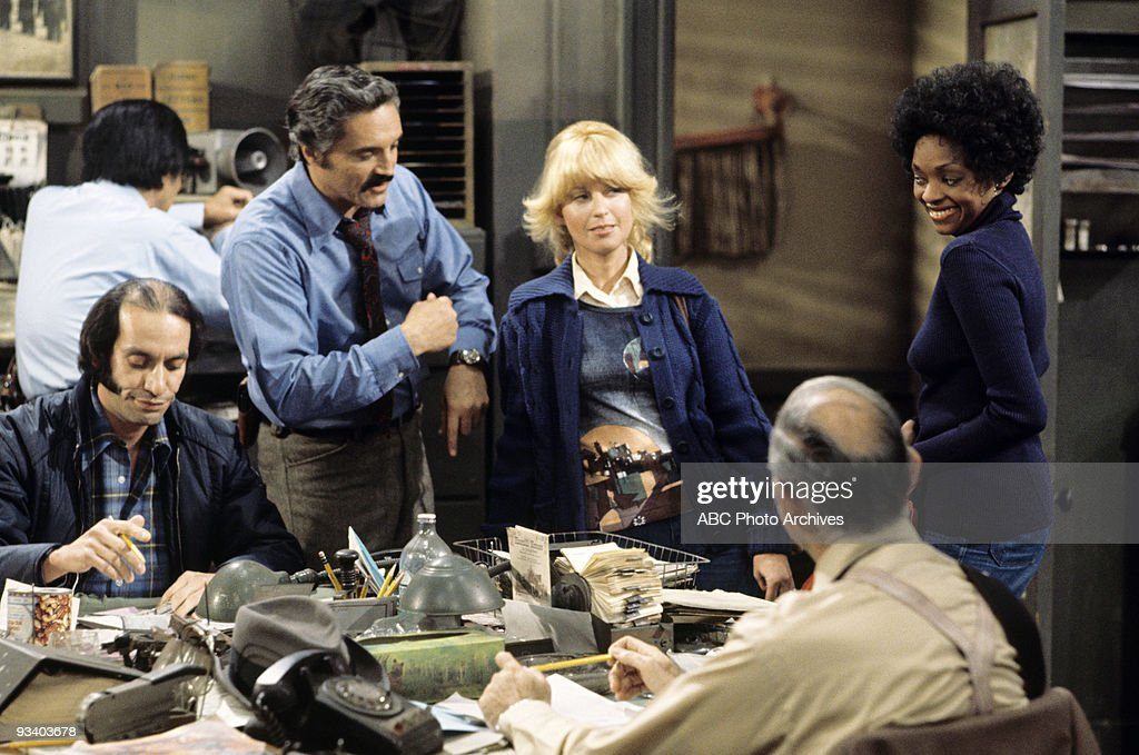 MILLER - 'Hot Dogs' - Season Two - , A man is convinced that photo of Jean Harlow is his missing wife and a pair of lady cops makes an overzealous drug bust., Gregory Sierra (as Det. Amenguale), Hal Linden (as Capt. Miller), Nellie Bellflower (as Officer Carney), Jonelle Allen (as Officer Turner) and Abe Vigoda (as Det. Fish).,