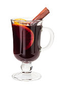 Hot drink mulled wine on white background