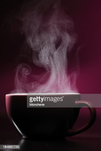 Hot drink with steam