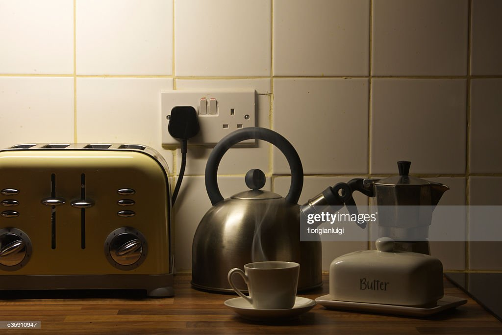 hot espresso cup early morning in my kitchen : Stock Photo