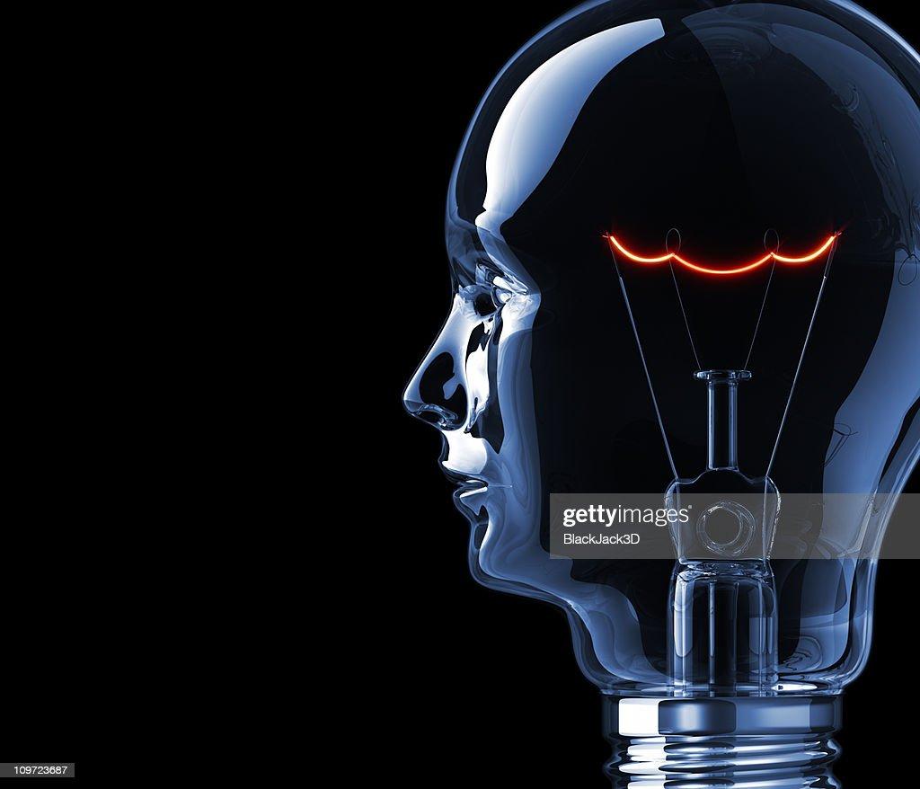 Hot Filament of Light Bulb Head! : Stock Photo