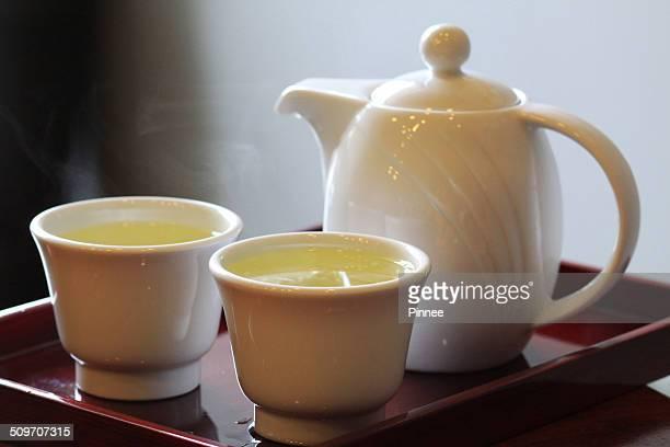 Hot Genmaicha tea in a set