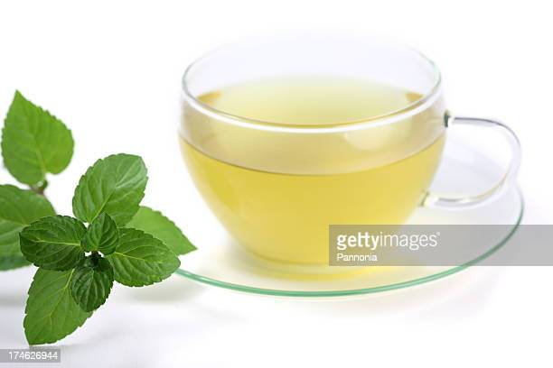 Hot Green Tea with Mint Leaves