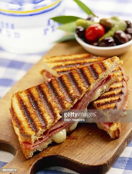 Hot ham and swiss panini sandwich
