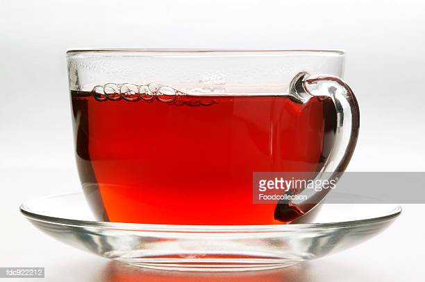 Hot hibiscus tea in glass cup