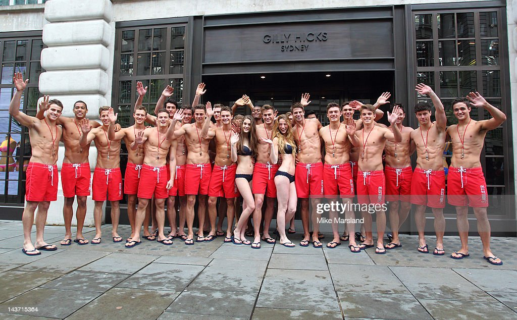 75 hot Life Guards for the opening of the Gilly Hicks and Hollister store on May 3, 2012 in London, England.