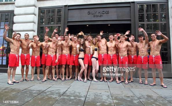75 hot Life Guards for the opening of the Gilly Hicks and Hollister store on May 3 2012 in London England