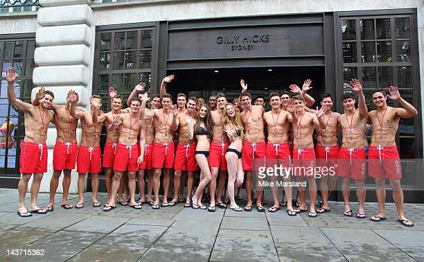 75 hot Life Guards pose for the opening of the Gilly Hicks and Hollister store on May 3 2012 in London England