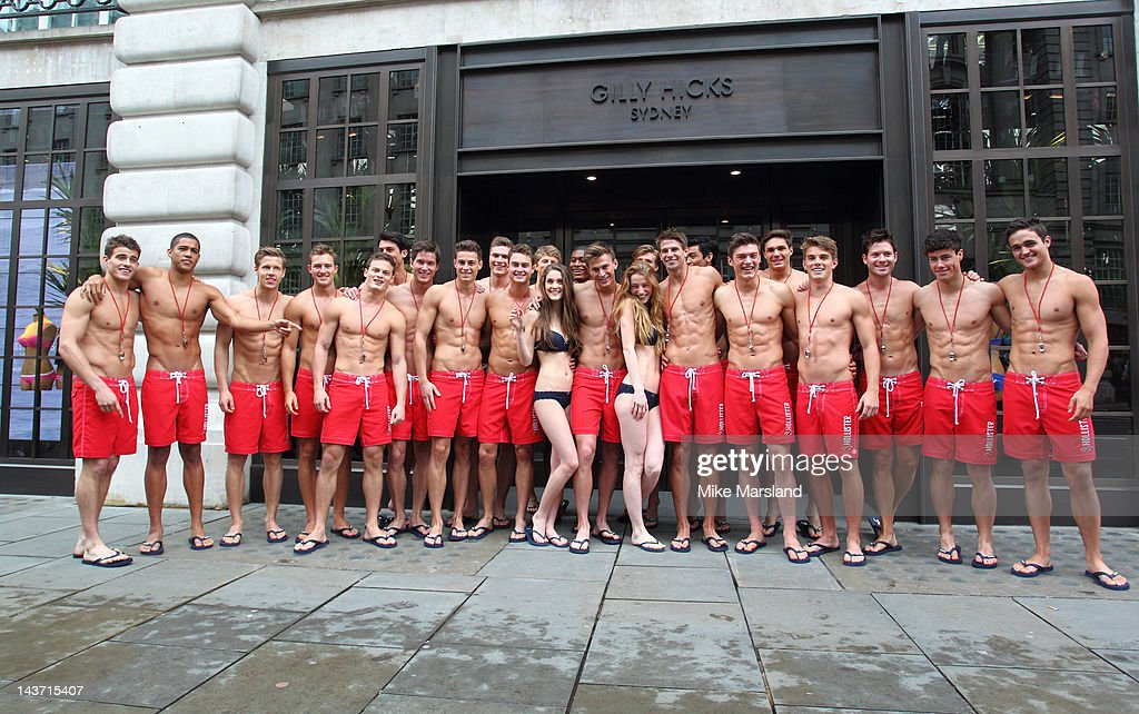75 hot Life guards pose for the opening of the Gilly Hicks and Hollister store on May 3, 2012 in London, England.