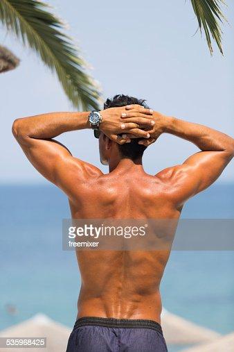 Hot look male enjoy summertime : Stock Photo