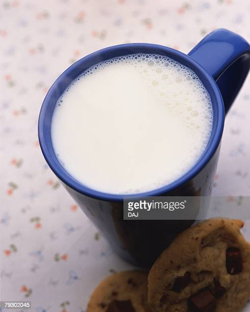 Hot Milk and Cookie, High Angle View, Full Frame, Differential Focus