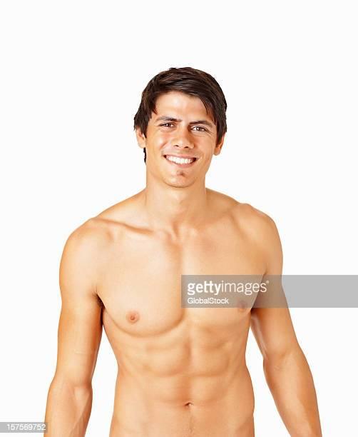 ホット筋肉男笑顔白で分離