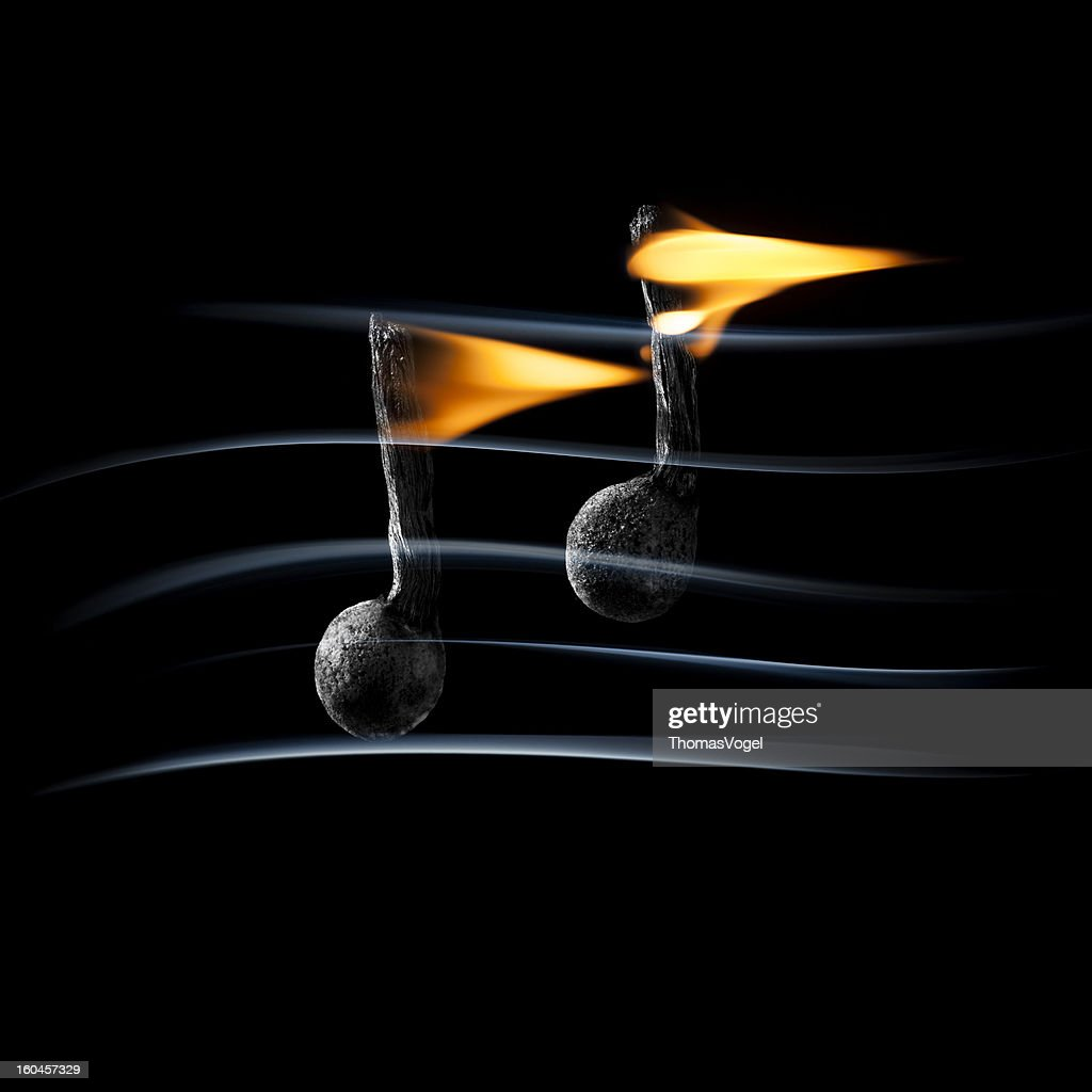 Hot Music - Burning Fire Match Smoke : Stock Photo