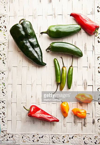 Hot pepper varieties on table