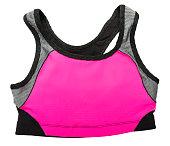 Hot pink sports bra on white
