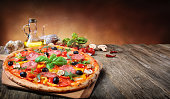 Pizza On Vintage Table - Italian Food