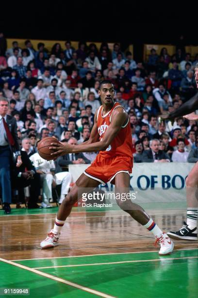 Hot Rod Williams of the Cleveland Cavaliers looks to make a play against the Boston Celtics during a game played in 1987 at the Boston Garden in...