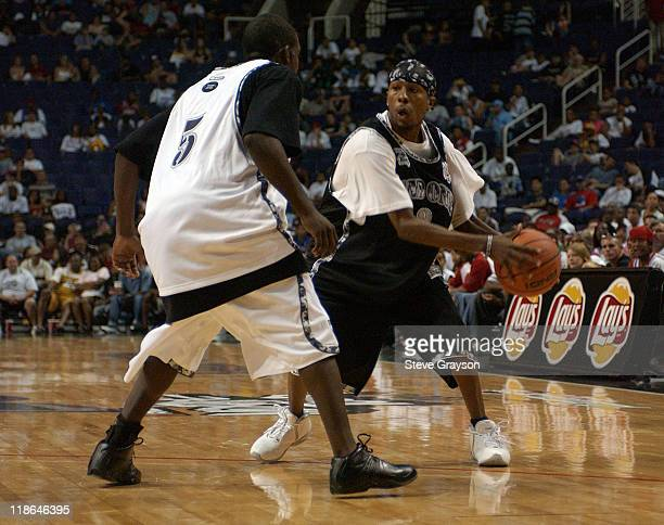 Hot Sauce of Team AND1 in action against AND1 Phoenix during the 2004 AND1 Mix Tape Tour stop at America West Arena in Phoenix Arizona June 12 2004