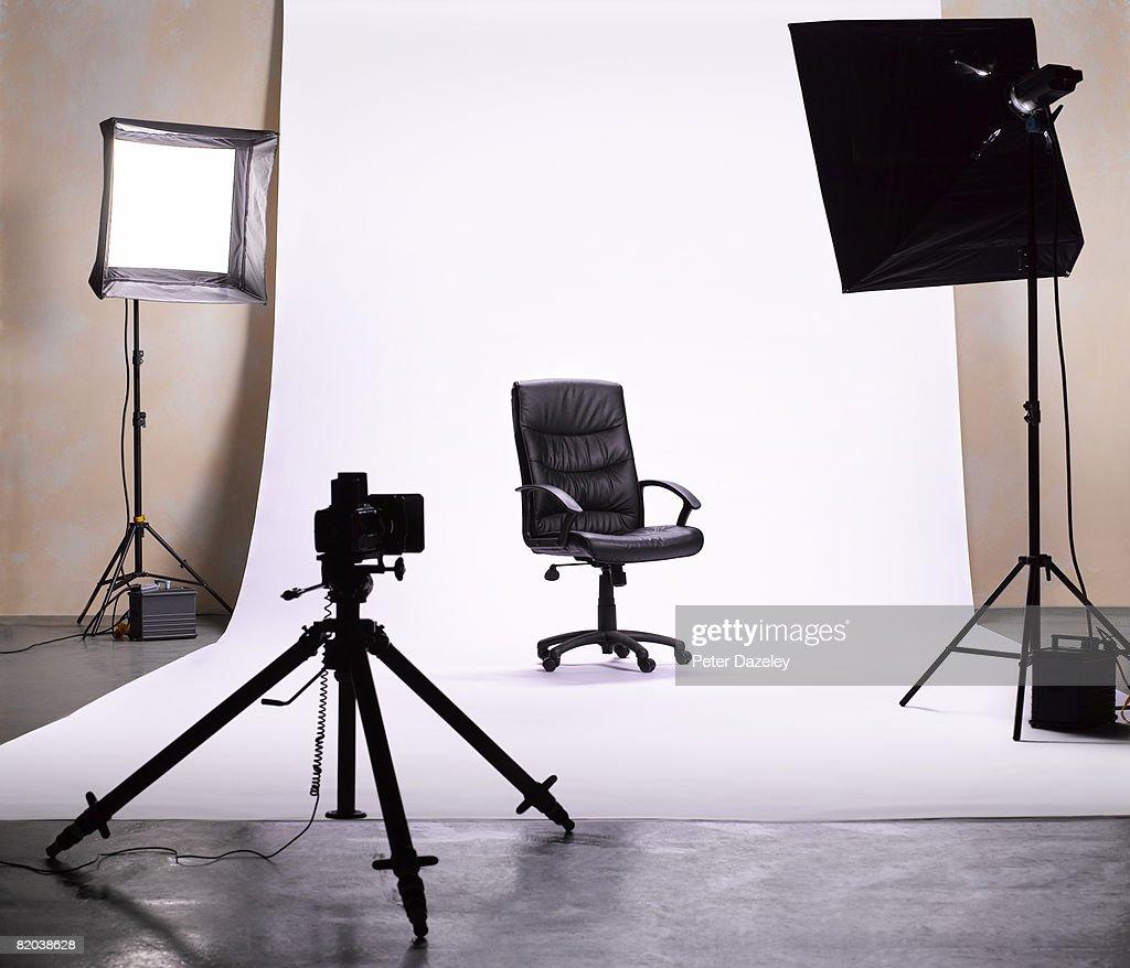 Hot seat in photographic studio.