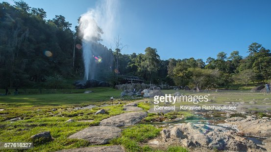 Hot spring in the sunny day