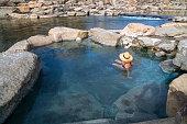 Geothermal heated pool by the San Juan River. Pagosa Springs, Colorado.