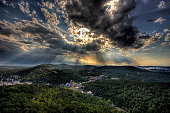 Sun Rays and Clouds over Hot Springs, Arkansas